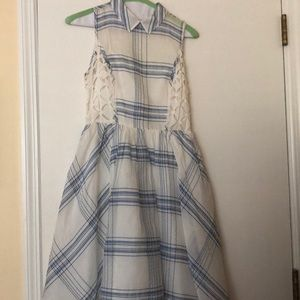 Blue and white plaid dress from Anthropologie